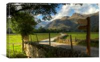 Langdale Pikes signposted, Canvas Print
