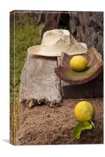 Lemons and straw hat, Canvas Print