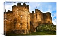 Warkworth Castle with artistic effect, Canvas Print