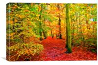 Autumn Woodland with swirly lines filter, Canvas Print