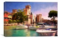 Sirmione Scaliger Castle with artistic filter, Canvas Print