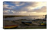 Morning sunshine at Tynemouth, Canvas Print