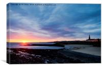 Early morning blues at Cullercoats, Canvas Print