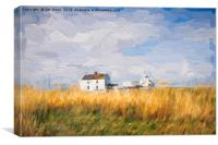 Artistic Northumbrian whitewashed buildings, Canvas Print
