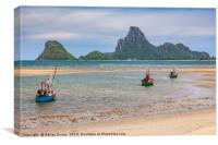 Three Boats Thailand, Canvas Print