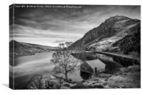 Lake and Half Moon Snowdonia , Canvas Print