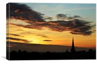 Sunset over St Mary church, Canvas Print