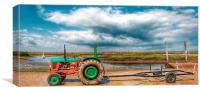 Green and red tractor Brancaster, Canvas Print