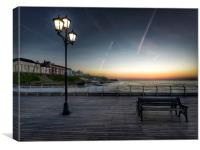 Sunset bench Cromer pier, Canvas Print