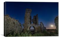 Moonrise over Bawsey ruins , Canvas Print