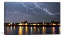 Lightning over King's Lynn, Canvas Print