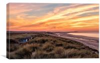 The perfect beach at sunset  - Brancaster in Norfo, Canvas Print