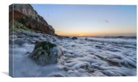 A subtle Winter sunset from Hunstanton beach , Canvas Print