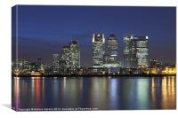 Canary Wharf financial district viewed over the ri, Canvas Print