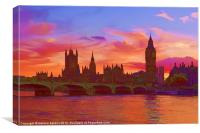 The house of parliament and westminster bridge, Canvas Print