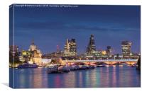 London skyline and river Thames at night, London, , Canvas Print