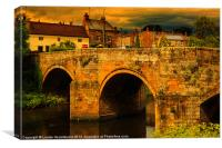 Medieval bridge over the Coquet, Canvas Print