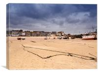 Low tide on the beach at St Ives, Cornwall, Canvas Print