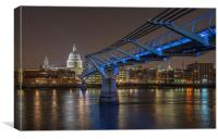 Millenium Bridge by Night, Canvas Print