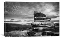 Over Owler Tor in Monchrome, Canvas Print