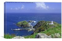 Lundy harbour and lighthouse                      , Canvas Print