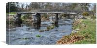 The two bridges Postbridge Dartmoor., Canvas Print