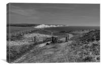 Seven Sisters Walk in Monochrome, Canvas Print