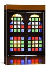 Stained glass double doors, Canvas Print