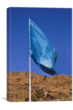 Silky blue flag in the breeze, Canvas Print
