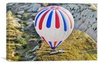 Patriotic Coloured balloon lands on trailer, Canvas Print