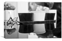 monochrome coffee for two, Canvas Print