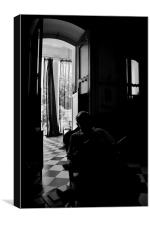 Shadow of a senior man in a old Doorway, Canvas Print