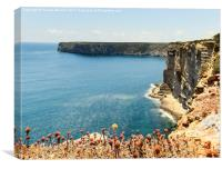 Sunlit Cliffs at Sagres, Canvas Print