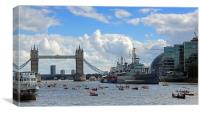 Great River Race at Tower Bridge, Canvas Print