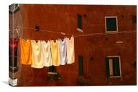 clothes line or washing line in venice, Canvas Print