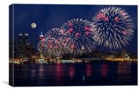 Fireworks and Full Moon Over New York City, Canvas Print