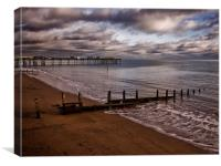Teignmouth Beach and Pier, Canvas Print