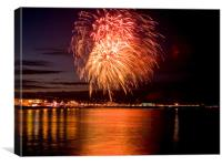 Fireworks at Paignton Beach, Canvas Print