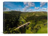 Aerial view of Headstone viaduct, Bakewell No1, Canvas Print