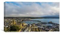 Beautiful Aerial view of Penzance and the harbour, Canvas Print