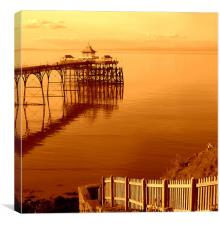 Warm glow over Clevedon Pier, Canvas Print
