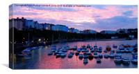 Sunset over Tenby harbour, Canvas Print