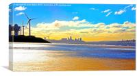 Liverpool Water Front from Crosby Beach..., Canvas Print