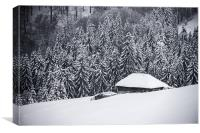 Wooden house in the snow, Canvas Print