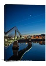 The Squiggly Bridge,Broomielaw,Glasgow at Dusk, Canvas Print
