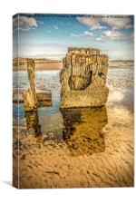 Groynes on Seamill Beach, Canvas Print