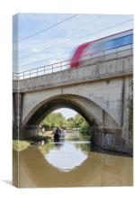 Train crossing canal, Canvas Print