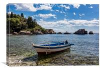 Isola Bella boat, Canvas Print