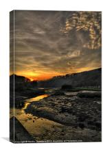 Sunset over Cresswell Quay, Canvas Print
