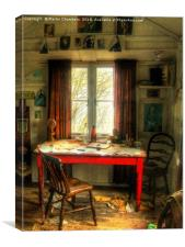 Dylans Desk in The Writing Shed, Canvas Print